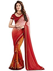 Exclusive PINK & RED Colored Weightless Material Printed Saree With Blouse