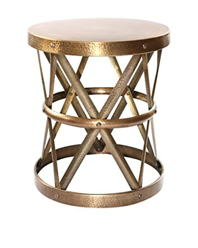 filling spaces Large Antique Brass Finished Side Stool, Gold