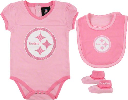 NFL Pittsburgh Steelers Infant Girls 3-Piece Creeper, Bib & Booties Set - Pink (3-6 Months)