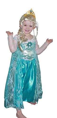 Disney Frozen Elsa Dress Costume with Dress Wig and Tiara Size 4+