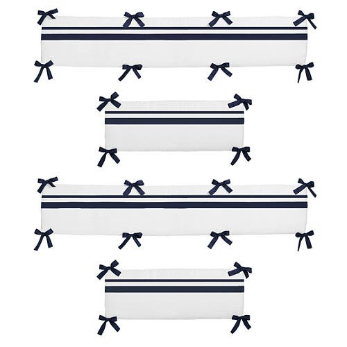 Navy And White Crib Bedding 1066 front
