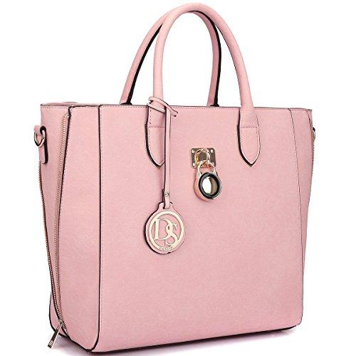 dasein-fashion-structured-padlock-shopper-tote-bag-faux-patent-leather-pu-purse-handbag-w-removable-