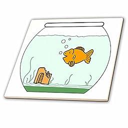 Florene Childrens Art - Gold Fish In Bowl - 12 Inch Ceramic Tile (ct_43834_4)