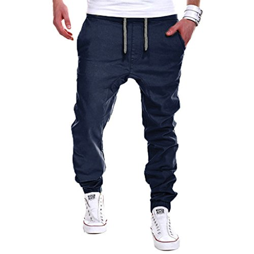 Thinkbest - Teens Plus Size Sport Jogging Pantaloni Slim Fit Pantaloni larghi pantaloni sportivi Dark Blue Large
