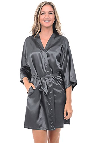 Del Rossa Womens Satin Robe, Mid-Length Dressing Gown