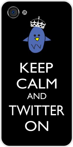 Rikki KnightTM Keep Calm and Twitter On Black Color White Hard Case Cover for Apple iPhone® 4 & 4s Universal: Verizon – Sprint – AT&T – Unisex – Ideal Gift for all occassions!