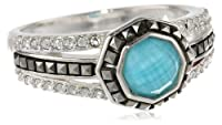 "Judith Jack ""Mini Octagons"" Sterling Silver, Turquoise and Marcasite Band Ring by Judith Jack"
