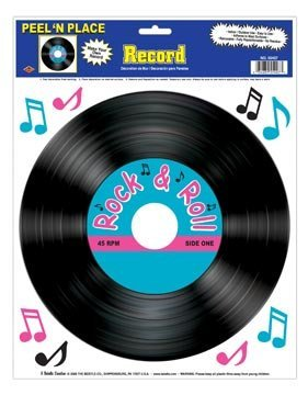 Beistle 55407 Record Peel 'N Place Party Decorations, 12-Inch by 15-Inch Sheet