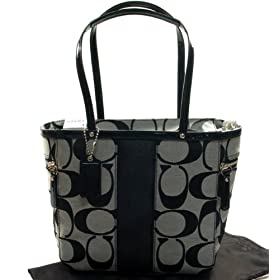 AUTHENTIC COACH SIGNATURE STRIPE PATENT SHOULDER TOTE 13280 (BW/Black)