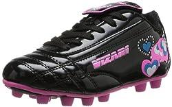Retro Hearts FG Soccer Shoe Toddler Little Kid Black/Pink/Blue 12 M US Little Kid