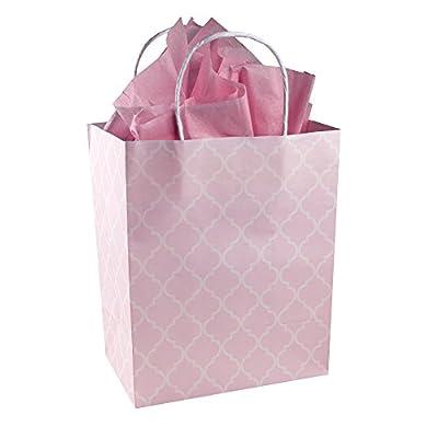 Baby Girl Pink and White Quatrefoil Pattern - Gender Reveal Baby Shower - Kraft Gift Bag (Set of 8)
