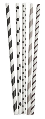 Party Partners Design Retro Dots and Stripes Paper Straws, Black/Gray, 25 Count