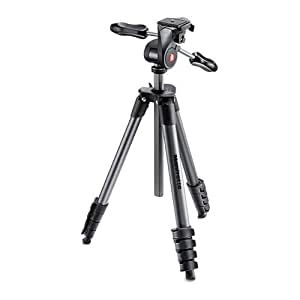 Manfrotto MKCOMPACTADV-BK Compact Advanced Tripod with 3-Way