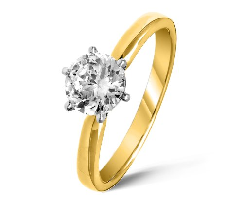 Beautiful 18 ct Gold Ladies Solitaire Engagement Diamond Ring Brilliant Cut 2.00 Carat JK-I3 Size U