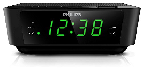 Philips AJ3116M/37-BLK {Factory Reconditioned} Clock Radio: Digital, LED, FM Tuner Bands with an FM frequency range of 87.5 – 108 MHz, Up to 10 FM Preset Stations, FM Antenna, AC Input