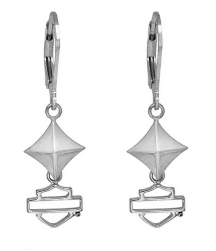 Harley-Davidson Women's Studded Bar & Shield Outline Dangle Earrings HDE0340