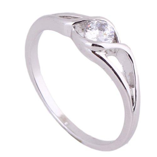 C-Princessリング 指輪 ring 18Kゴールドメッキ コーティング ラインストーン レディース 女性 アクセサリー ジュエリー 結婚式 エンゲージリング 使いやすい (18, ホワイトゴールド)