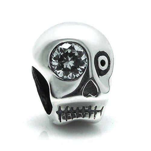 925 Sterling Silver Halloween Skeleton Skull Cz Crystal Eye Bead For European Charm Bracelets (Halloween College Stories)