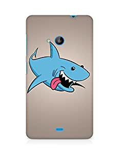 Amez designer printed 3d premium high quality back case cover for Microsoft Lumia 535 (Shark art protruding tongue)