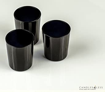 Black Glass Votive Candle Holders (Set of 12)