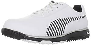 PUMA Men's Faas Grip Golf Shoe,White/Black,10.5 D US