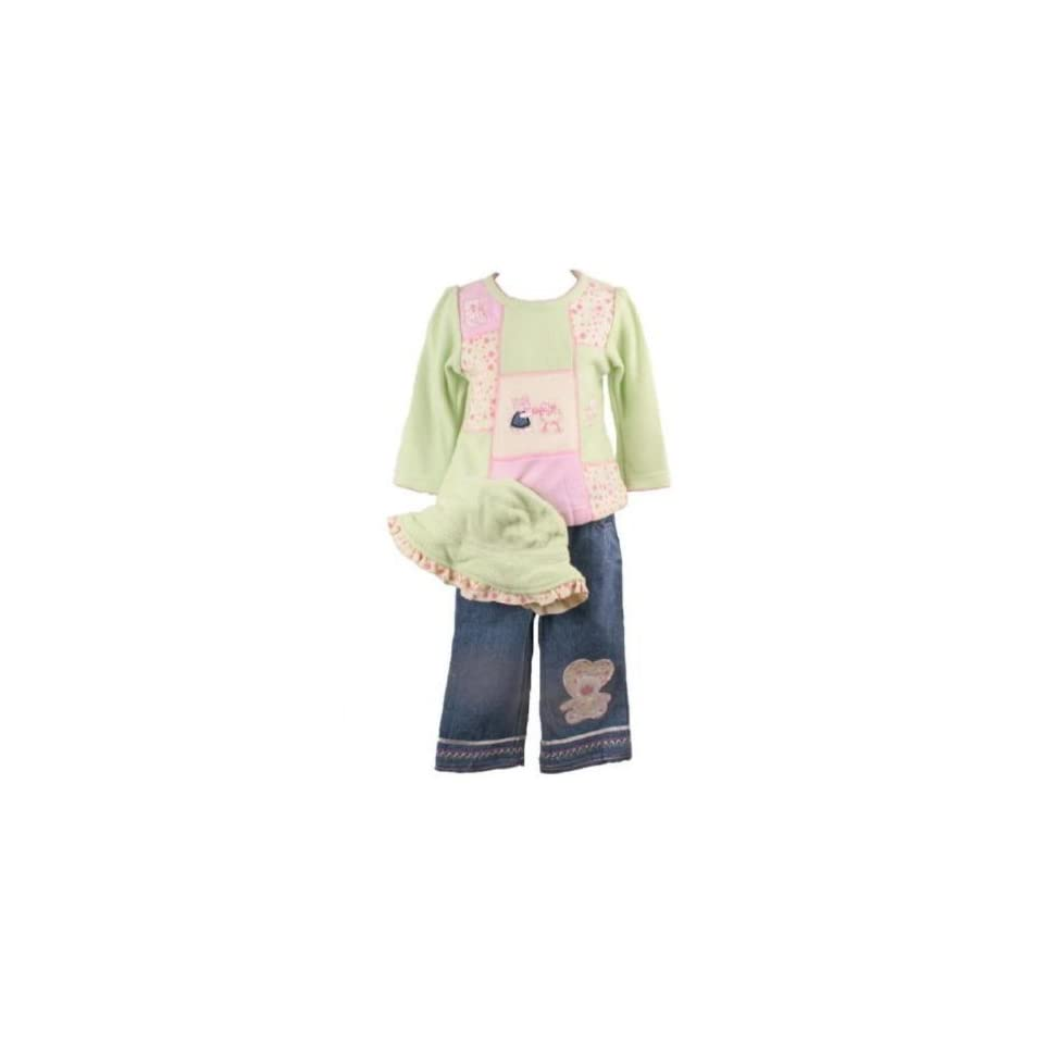 B T Kids Baby Girls Fall Winter Clothes Green and Pink Fleece Denim Pant Set