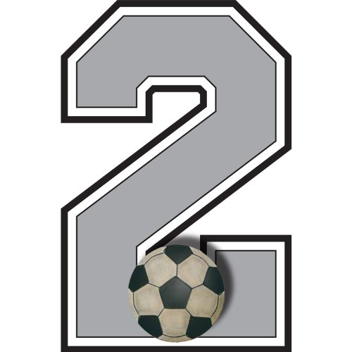 """2"" Soccer Ball Jersey Number Varsity Uniform Wall Sticker. Decal Numbers For Children'S, Nursery & Baby'S Sport Room Decor, Baby Wall Team Number Stickers, Boys Bedroom Wall Sports Decorations. Sports Balls Mural Walls Decals Baby Shower front-4912"
