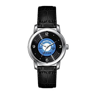 AMS Christmas Gift Watch Women's Vintage Design Leather Black Band Wrist Watch Vintage Style Blue 45 rpm Vinyl Record Watch