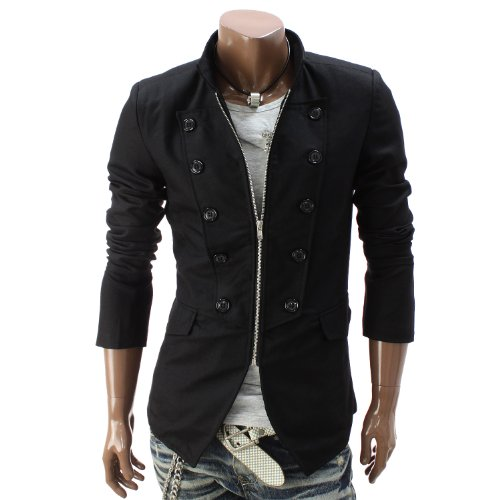Mens Zipper Jacket Blazer BLACK (GAK07)