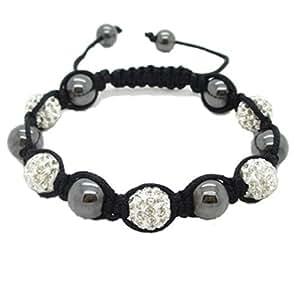Bracelet type Shamballa Macrame Hématite noir et argent