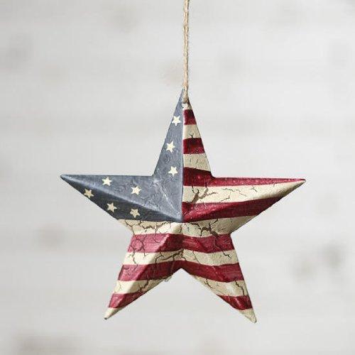 Americana Barn Star Ornament on Jute Hanger- Package of 4