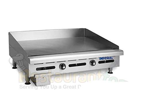"Imperial Commercial Griddle Thermostat Controlled Heavy Duty 24"" Steel Plate Nat Gas Model Itg-24"