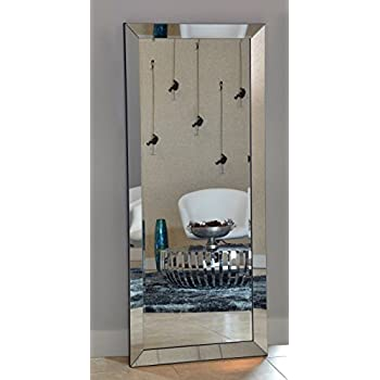 Naomi Home Mirrored Bevel Floor Mirror