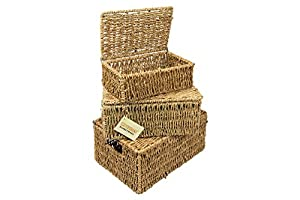 WoodLuv Seagrass Storage Basket with Lid, Set of 3