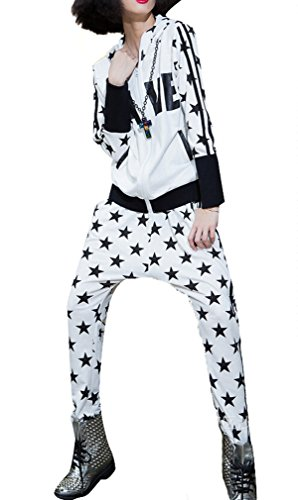 Women Baggy Harem Star Printing Hooded T Shirt & Pants Clothing Sets Onesize White