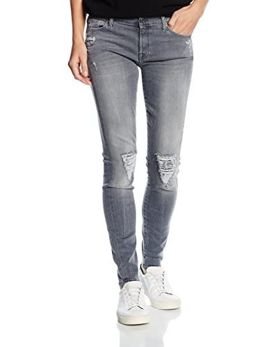 7 for all mankind THE SKINNY, azul Mujer, Gris (Slim Illusion Ivory Grey Distressed), W30/L30 (Talla