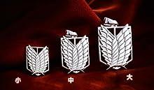 R-STYLE 進撃の巨人 シルバーアクセサリー コスプレにも ペンダントネックレス 調査兵団紋章 中サイズ 黒縄モデル