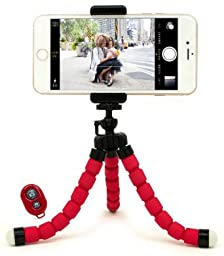 Bastex Universal Compact Flexible Octopus Style Red Tripod Stand Holder/Mount with Adapter for Smartphone / Digital Camera / GoPro Hero All Versions - Includes Remote