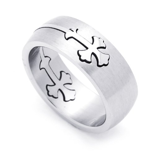 8MM Stainless Steel Gothic Cross Domed Wedding Band Ring (Size 7 to 14) Size 9