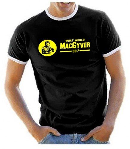 """Maglietta motivo MacGyver, con scritta stampata in giallo """"what would Mac Gyver do?"""", taglie S-XXL, Nero (nero), XL"""
