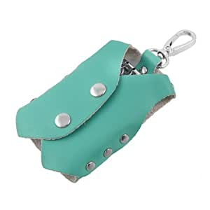 Teal Clothes Shaped Faux Leather Cover Keychain Keyring Holder Bag Case