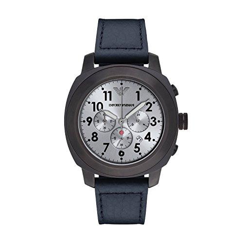 Emporio Armani Reloj de cuarzo Hombre con cronógrafo gris y azul pulsera de piel ar6086