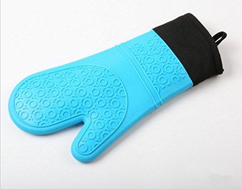 GYMNLJY Aggiungi guanti da forno guanto di cotone in Silicone guanti coibentati cinque dita guanti antiscivolo cottura (confezione da 2) , blue
