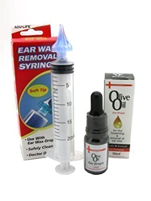 Aculife Ear Wax Removal Syringe + Medical Grade Olive Oil Combo