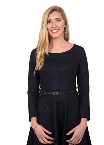 Navz Modest A-line Classy Sparkle Black Knee Length Dress with Long Sleeves