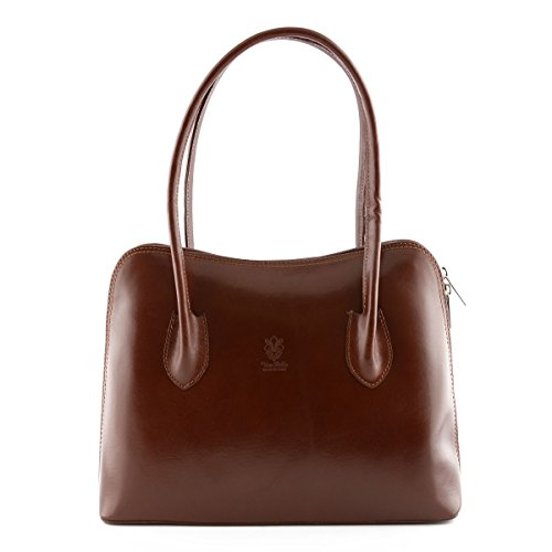 Borsa Da Donna In Vera Pelle A Spalla Con Struttura Rigida Colore Marrone - Pelletteria Toscana Made In Italy - Borsa Donna