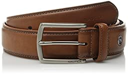 Nautica Men\'s Feathered Edge with Double Stitch Casual Leather Belt, Cognac, 32