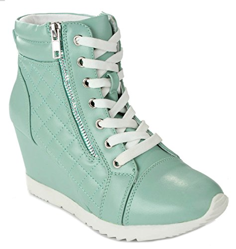 Women Adriana12 Mint Sporty Leatherette Lace-up Quilted High Top Wedge Sneaker Bootie Shoes-7.5 (Boots Quilted Wedge compare prices)