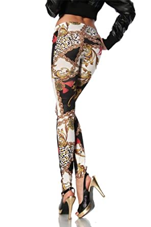 Amour- Women's Pattern Leggings Cotton Stretch Pants - Many Designs (Chain Scarf Print)