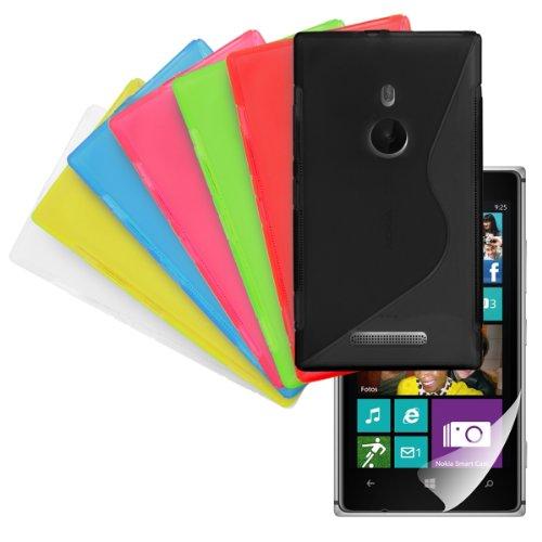 8in1 Set: 7x CUSTODIA IN TPU per Nokia Lumia 925 Fantasia linea S (Nero, Bianco, Rosso, Blu, Rosa, Verde, Giallo) + Pellicola, cristallino - Custodia di design alla moda in morbido TPU d'alta qualit� dellakwmobile